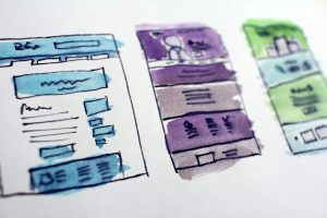 mockup drawing of website pages