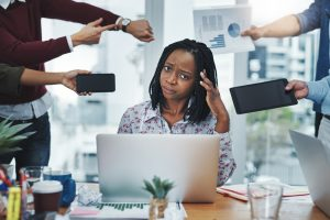 professional woman being offered too much information